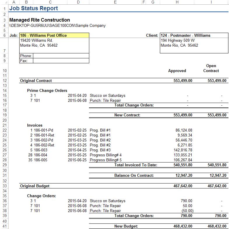 Job Status Report Event 1 Software Inc